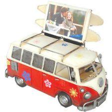 NEW VW Volkswagen Combi Kombi Van Photo Frame & Money Box Flower Power Red