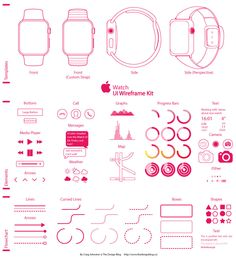 Apple-Watch---Wireframe-UI-Kit App Wireframe, Wireframe Design, Sketch Design, Web Design, Arrow Text, Apple Watch Apps, Mobile Ui Design, Information Graphics, Ui Kit