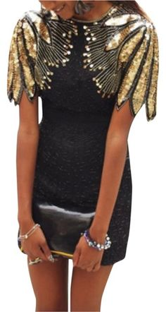 Black Vintage Repurposed Amazing Fully Beaded and Sequined Short Night Out  Dress Size 6 (S 938772481a0