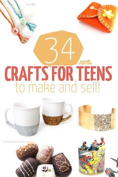 34 COOL crafts for teens to make and sell! 34 fun, functional crafts for teens to make and sell! What a great activity for teens and tweens – marketing handmade items and selling on Etsy! Here is a great list of DIY projects and ideas to start with. Crafts For Teens To Make, Crafts To Do, Easy Crafts, Arts And Crafts, Upcycled Crafts, Fun Things To Make For Teens, Diy Crafts To Sell On Etsy, Diy Home Decor For Teens, Wood Crafts