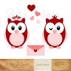 INSTANT DOWNLOAD - Valentine Clip Art - Owl Clipart, Owl Clip Art, Valentine Clipart, Valentines Day, Bird Clip Art