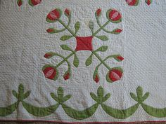 Detail showing swag border, ANTIQUE HANDMADE RED GREEN POMEGRANITE APPLIQUE QUILT CIRCA 1860 | eBay, carriagehouseantiques