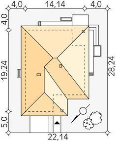 Projekt domu MT Ariel paliwo stałe CE - DOM - gotowy koszt budowy Roof Design, House Design, Modern Bungalow House, Bathroom Floor Plans, Roof Structure, Design Case, Ariel, Wood Carving, Construction
