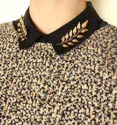 Black Collared Shirt, Nubby Knit Sweater, Gold Leaf Pins // details