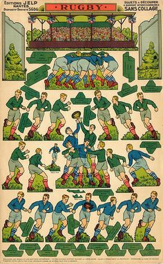Shop Vintage French Rugby Jigsaw Puzzle created by TheRugbyStore. Rugby Sport, Rugby Men, French Rugby, Rugby League, Vintage Paper Dolls, Paper Toys, Paper Crafts, Paper Models, Illustrations