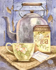 Cuppa tea, tea illustration и tea art. Vintage Tea, Vintage Ephemera, Tee Illustration, Tee Kunst, Coffee Art, Coffee Cups, Coffee Label, Image Painting, Cuppa Tea