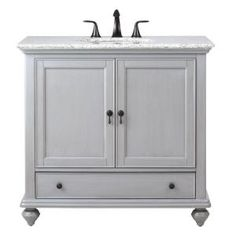 Home Decorators Collection Newport 37 in. W x 21.5 in. D Single Vanity in Pewter with Granite Vanity Top in Grey with White Basin 9390100290 at The Home Depot - Mobile