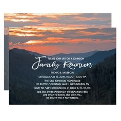 Country Mountain Sunset Family Reunion Invitation This Family Reunion features nature landscape photography of a beautiful Smoky Mountain sunset. Great for a Smokies, country, rustic, mountain or destination wedding. Matching products are available in my shop. Matching products are available in my shop.