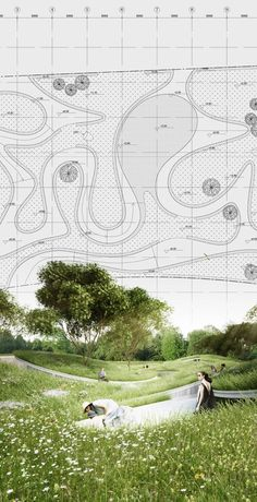 Penda Chris Precht Where The River Runs Garden Expo 2015 Landscape Architecture Design, Architecture Graphics, Landscape Plans, Architecture Drawings, Architecture Plan, Urban Landscape, Landscape Architects, Watercolor Architecture, Park Landscape