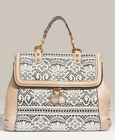 Dolce & Gabbana Miss Rose Lace & Leather Satchel
