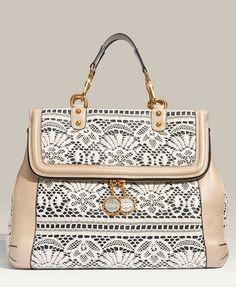 Dolce & Gabbana Miss Rose Lace & Leather Satchel