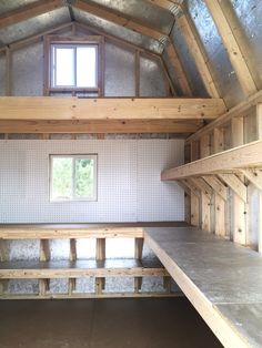 The makings of a great workshop. Loft space, shelving, pegboard, and an extra long workbench. You could get to work on all the honey-do projects on your list in this storage barn. Storage Shed Organization, Barn Storage, Garden Storage Shed, Backyard Storage, Built In Storage, Small Storage, Garage Storage, Kitchen Storage, Diy Garage