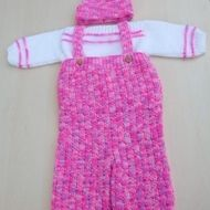 Hand knitted baby girl jumper dungarees and hat set 0 - 3 months pink mix  https://link.crwd.fr/1DIo