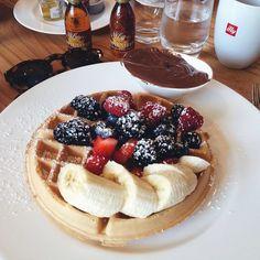 Desayuno con estilo ♡ #breakfast #waffle ♡  ❥ @Vanessa1E000