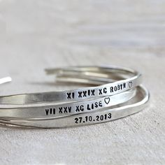 Personalized silver bracelet sterling silver cuff by PraxisJewelry