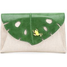Charlotte Olympia Jungle clutch ($1,230) ❤ liked on Polyvore featuring bags, handbags, clutches, purses, charlotte olympia, genuine leather handbags, leather clutches, green handbags, green clutches and embroidered purse