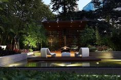Rolling Stone Landscapes uses on LED lights in its designs. This design, for the 2011 Melbourne International Flower & Garden Show features recessed LED down lights, an LED barrel light in the pond, and LED stainless steel deck lights, all from ME Lighting.