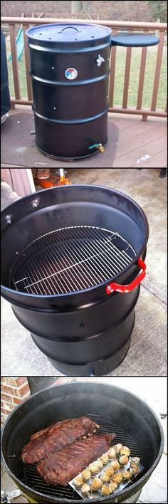 Build An Ugly Drum Smoker - 20 Unique Diy Smoker Box Ideas Diy Smoker, Homemade Smoker, Grill Outdoor, Outdoor Cooking, Bbq Grill, Grilling, Ugly Drum Smoker, Materiel Camping, Smoking Meat