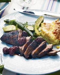 Grilled Spiced Duck Breasts with Blackberries Recipe from Food & Wine
