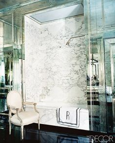 Mirrored and Marble Bath with Glossy Black Floor- Miles Redd Design - ELLE DECOR.