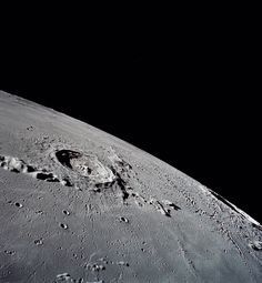 The lunar surface showing Eratosthenes Crater, photographed by Apollo 17 crewmen.
