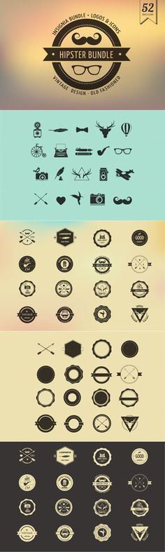 Hipster Icons / Badge / Insignia #design Download: https://creativemarket.com/Marish/21924-Hipster-Icons-Badge-Insignia?u=ksioks