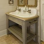 bathrooms - wall panels groove walls painted light gray tumbled travertine tiles backsplash repurposed wood vanity Two's Company Know Your Rope Wall Mirror