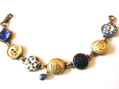 NAVAL ACADEMY, NAVY antique button bracelet. 1800s buttons. One of a kind. NAVY mom, NAVY wife, USNA mom, USNA sweetheart! Show your support~