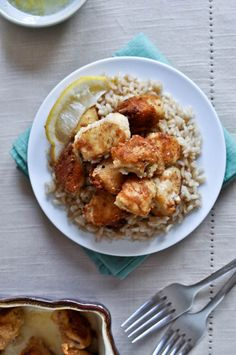 Crispy Honey Lemon Chicken! Made it for dinner tonight (added broccoli and used brown rice)
