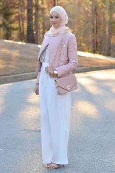 white palazzo pant hijab outfit- Neutral hijab outfit ideas www. Stylish Hijab, Modern Hijab, Hijab Chic, Islamic Fashion, Muslim Fashion, Modest Fashion, Fashion Dresses, Eid Outfits, Hijab Outfit