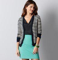 Loft navy stripe cardi - blue shirt- bright skirt-