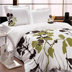 Garden Party White Green and Brown Duvet Bedding | Modern Bedding | Modern Duvet Sets