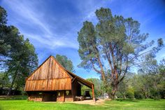 Pioneer Barn within the Shasta State Historical Park located 6 miles west of Redding, California