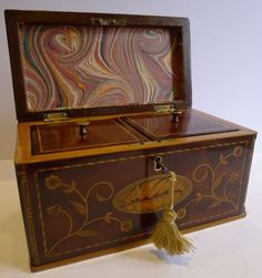 Stunning English Georgian Tea Caddy with Secret Spoon Drawer c.1790 from Puckerings
