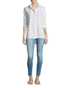 Le+Oversized+Button-Front+Blouse+&+Le+Skinny+De+Jeanne+Ankle+Jeans+by+FRAME+DENIM+at+Neiman+Marcus.