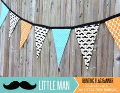 Little Man  Orange Dot & Teal Chevron by LittleFreeRadical on Etsy, $30.00