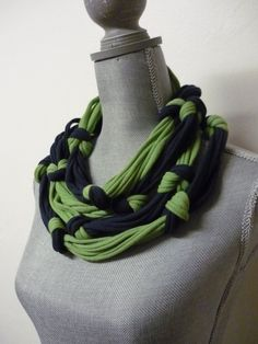 Super Long Infinity Scarf - Navy Blue & Green - Knotted Eco-Friendly Jersey Scarf Necklace by mitzi