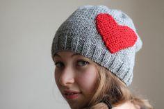 WINTER  SALE...Heart gray hat chunky gray hat gray by beyazdukkan, $19.90