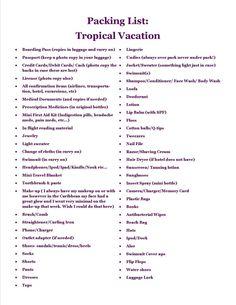 Honeymoon packing list.