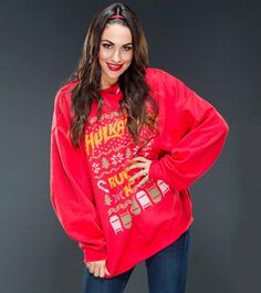 Superstars and Divas in Ugly Christmas Sweaters: photos Brie Bella, Nikki Bella, Ugly Sweater, Ugly Christmas Sweater, Hulk Hogan Shirt, Pose For The Camera, Professional Wrestling, Wwe Divas, Inevitable