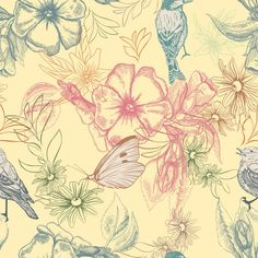Hand drawn flowers and animals Free Vector
