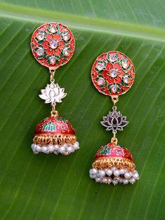 Sharmila Lotus Earrings Tassel Jewelry, Fabric Jewelry, Tassel Earrings, Crochet Earrings, Statement Earrings, Terracotta Jewellery Designs, Bohemian Accessories, Indian Earrings