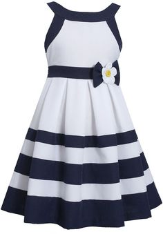 Bonnie Jean® Nautical Dress - Girls found at Nautical Party Dresses, Nautical Dress, Holiday Outfits, Holiday Dresses, Holiday Clothes, Little Girl Dresses, Girls Dresses, Striped Jeans, Striped Dress