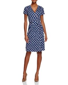 Diane von Furstenberg New Julian Two Dotted Silk Wrap Dress