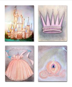 Princess Wall Art, SET OF 4 Prints, Princess Nursery, Princess Girls Room, Nursery Decor, Cinderella, Kids Baby Nursery, Princess Room