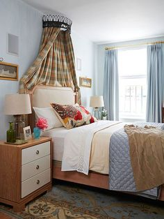 Pick a calming color palette with great pattern-play for a sumptious bedroom:  http://www.bhg.com/decorating/small-spaces/apartments/style-in-a-small-space/?socsrc=bhgpin091914calmingcolorpalette&page=8