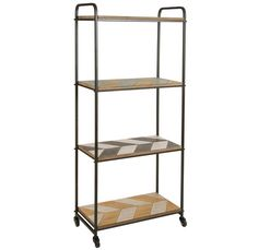 Estantería con cuatro estantes, elaborada en hierro y dm. Bella estanteria industrial con estructura en hierro de tono oscuro y cuatro bandejas en dm con parket. Cuanta con cuatro ruedas que te