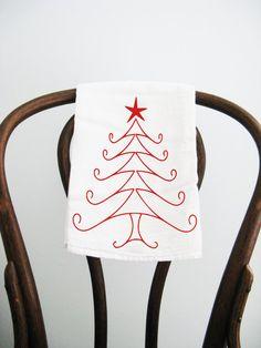 Swirly Christmas Tree Flour Sack Towel by badbatdesigns on Etsy