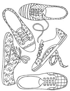 Girl Shoes --> If you're looking for the top coloring books and supplies including colored pencils, gel pens, watercolors and drawing markers, go to our website at Color. Coloring Book Pages, Printable Coloring Pages, Coloring Sheets, Free Coloring, Coloring Pages For Kids, Kids Coloring, Paper Shoes, Tampons, Colorful Drawings