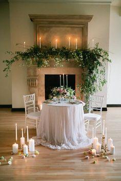 50 Wedding Fireplace Decor Ideas - Wedding Home Decoration Romantic Dinner Tables, Romantic Table Setting, Wedding Table Settings, Romantic Dinners, Romantic Weddings, Setting Table, Romantic Proposal, Destination Weddings, Place Settings